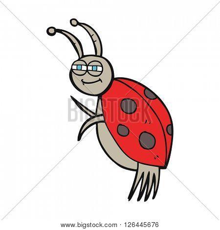 freehand drawn cartoon ladybug