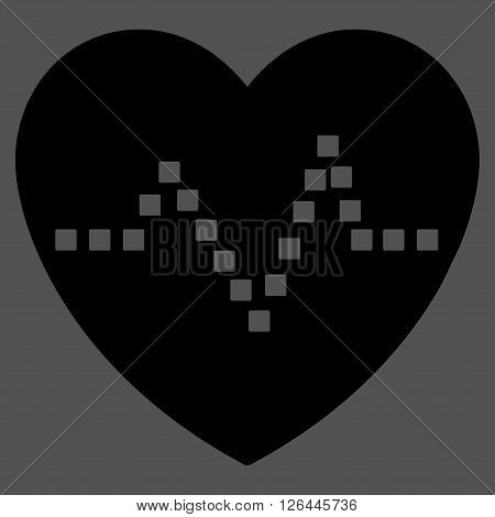 Heart Pulse glyph toolbar icon. Style is flat icon symbol, black color, gray background, square dots.