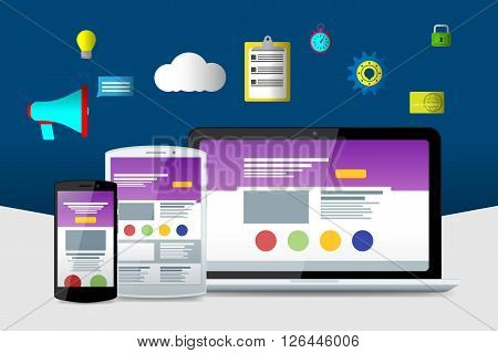 Flat Laptop, Phone And Tablet. Material Design Icons. Flat Seo Icons. Web Sites And Applications.