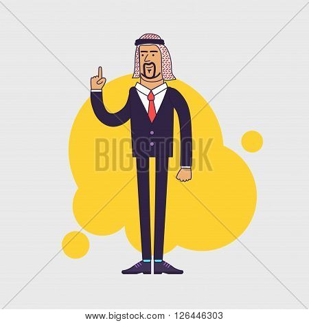 Arab saudi happy businessman showing his forefinger. Good idea or attention gesture. Business arab wearing traditional arabian Shemagh Keffiyeh scarf and suit. Linear flat design