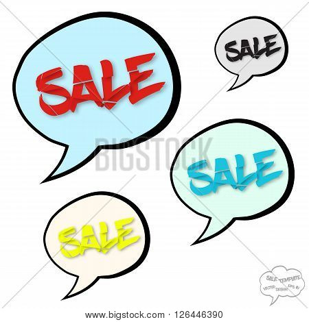 Sale concept with comics bubbles and destroyed text on white background
