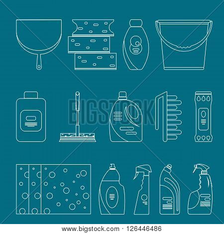 Outline cleaning products and equipment background pattern. Home cleaning pattern, Cleaning supplies, Vector set of cleaning tools isolated. Flat outline design style.