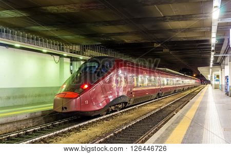 Milan, Italy - May 8, 2014: High-speed Alstom AGV train at Milano Porta Garibaldi railway station. Italian transport company NTV is the only commercial operator of the AGV