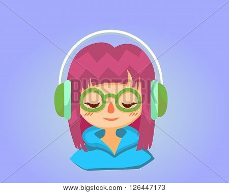 Cute happy girl with glasses listens to music. Vector cartoon illustration esp10