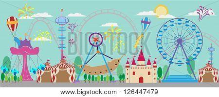 vector of amusement park background art illustration