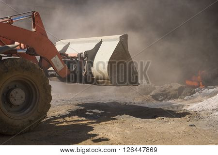 bulldozer at work in a building site