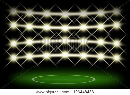Football field in dark with spotlight background.