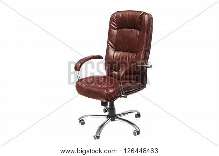 artificial leather upholstered office chair of claret color with trundles on a white background