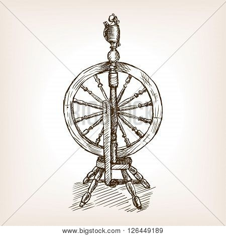 Spinning wheel sketch style vector illustration. Old hand drawn engraving imitation. Spinning wheel.