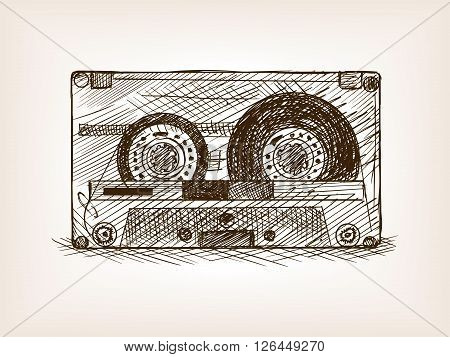 Audio cassette sketch style vector illustration. Old hand drawn engraving imitation. Audio cassette.