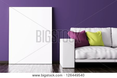 Interior Of Living Room With Poster And Sofa 3D Rendering