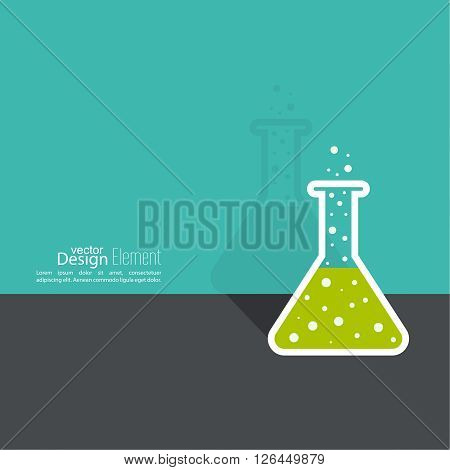 The concept of chemical science research lab retorts, beakers, flasks and other equipment. Biological and scientific tests. discovery new technologies. minimal.  flat shadow