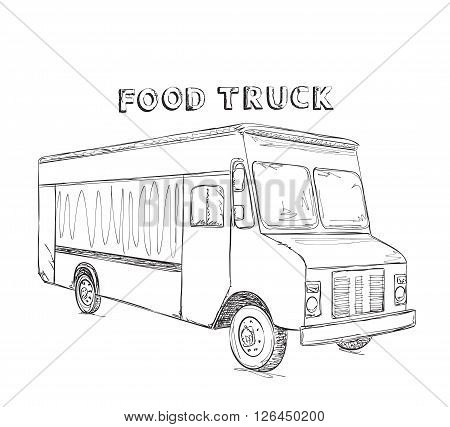 Vector illustration of truck free and fast delivering food. Line art design for web, site, advertising, banner, poster, board and print.