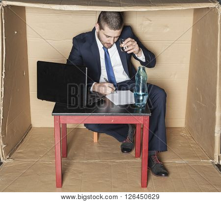 Businessman Drinking Alcohol And Is Signed Contract