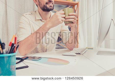 Close Up Portrait Of Man Having Break And Drinking Coffee