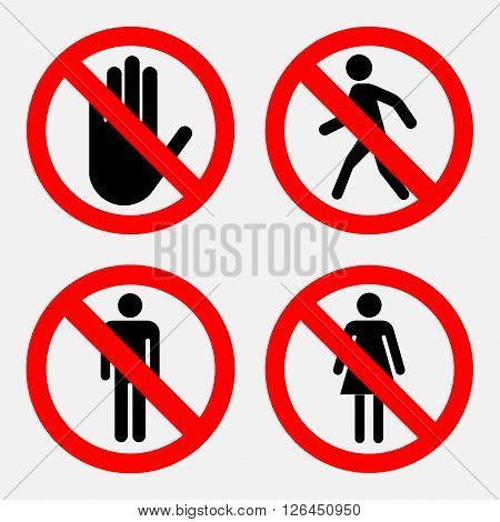 a set of prohibition signs, the passage of women and Mister prohibited passers prohibited, fully editable vector image