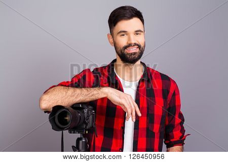 Attractive Happy Young Photographer With Big Zoom Lens