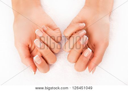 Close Up Photo Of Woman's Hands With Perfect Skin And Manicure