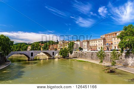 Rome city over the Tiber river - Italy ** Note: Visible grain at 100%, best at smaller sizes