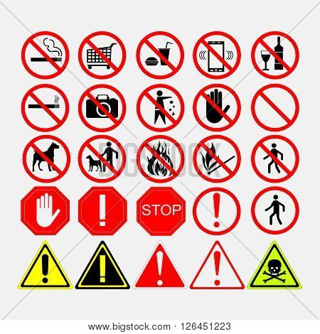 set of road signs, warning signs or prohibiting signs, European road signs, editable vector image