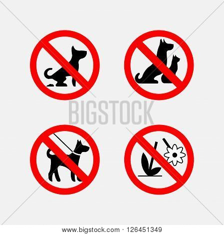 set prohibiting signs, icon  animals, plants, flovers