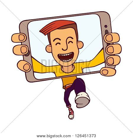 Selfie of running guy. Funny jumping guy taking a self snapshot isolated on white background. Selfie guy eps.