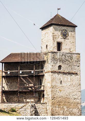 Trencin castle Slovak republic. Travel destination. Architectural theme.