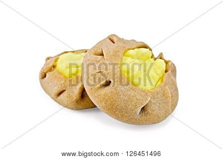 Two round cheesecake carols from rye flour with a stuffing of mashed potatoes isolated on white background