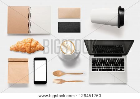 Design concept of mockup coffee break time on white background. Copy space for text.
