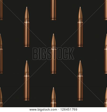 Rifle Bullets seamless pattern dark background Illustration