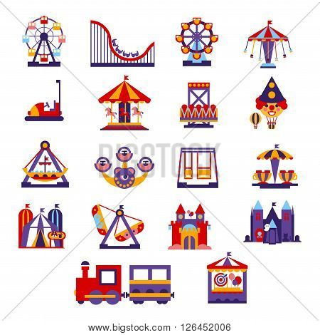 Amusement Park  Primitive Colorful Style Flat Isolated Vector Icons Set On White Backgroun