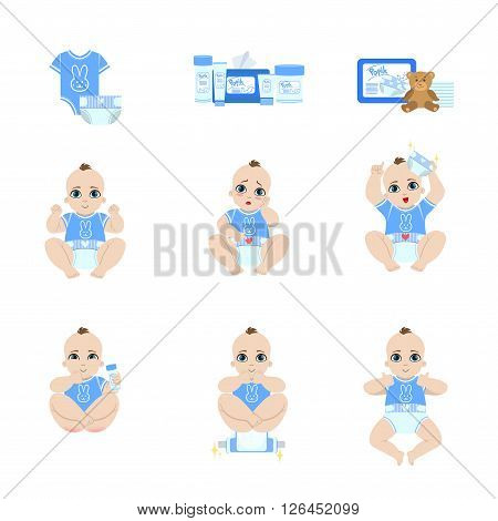 Baby Diaper Changing Sequence  Isolated Flat Vector Cartoon Style Adorable Illustrations Set On White Background