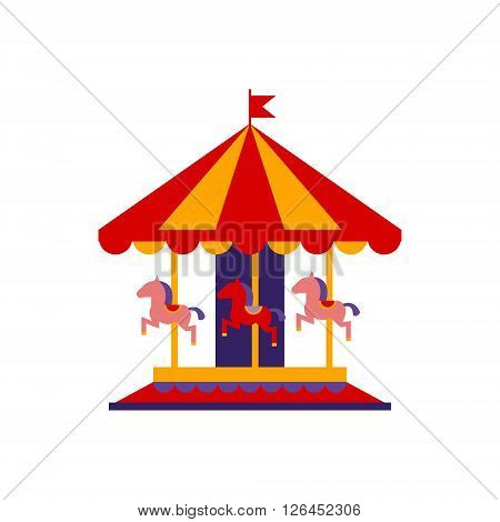 Classic Carousel With Horses Primitive Colorful Style Flat Isolated Vector Icon On White Backgroun