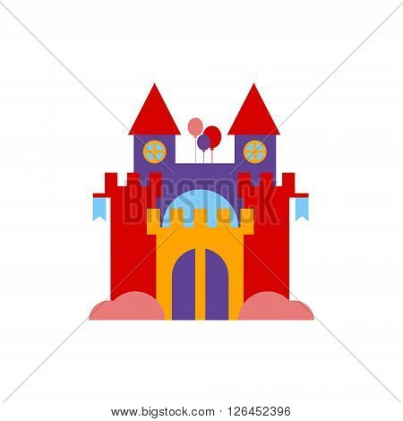 Bouncing Castle  Primitive Colorful Style Flat Isolated Vector Icon On White Backgroun