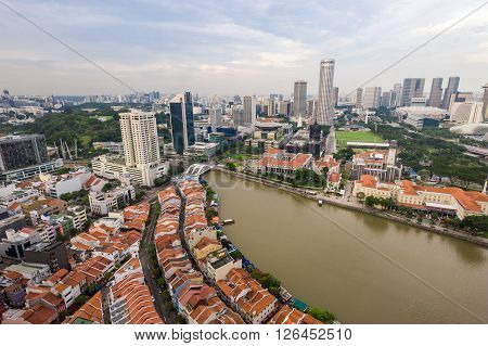 Aerial View Of Modern And Historical Architecture In Singapore