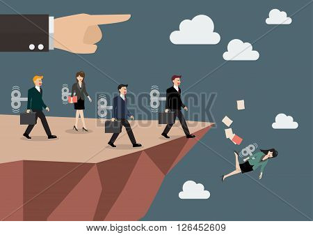 Mechanical business men and women walk straight into the abyss. Business concept
