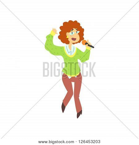 Curly Girl Singing In Karaoke Flat Isolated Simple Cartoon Style Vector Illustration On White Background
