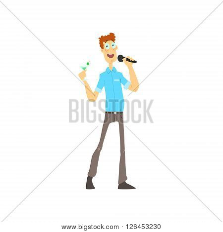 Curly Guy Singing In Karaoke Flat Isolated Simple Cartoon Style Vector Illustration On White Background