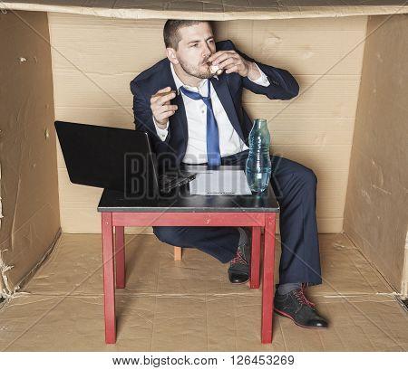 Cigarette And Vodka In Businessman Hand