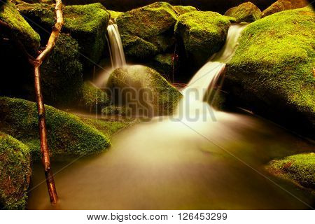 Torrent,  Mountain Stream With Mossy Stones, Hard Rocks And Fallen Tree.