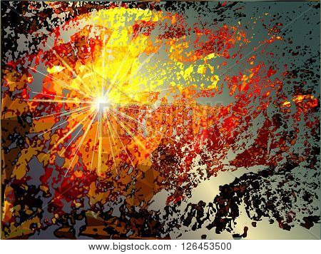 Abstract grunge background with explosion and torn pieces of supernova