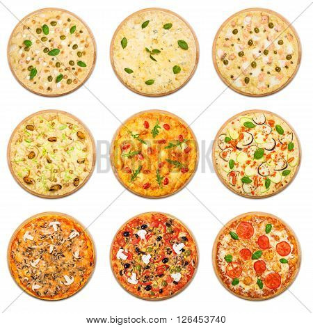 Eight different pizza set for menu. Italian food traditional cuisine. Vegetarian pizzas with mozarella, seafood, salmon, mushrooms. Collage of pizzas with fish and vegetables.