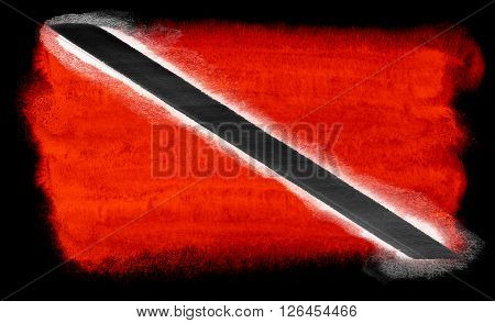 watercolor illustration of the Trinidad and Tobago flag