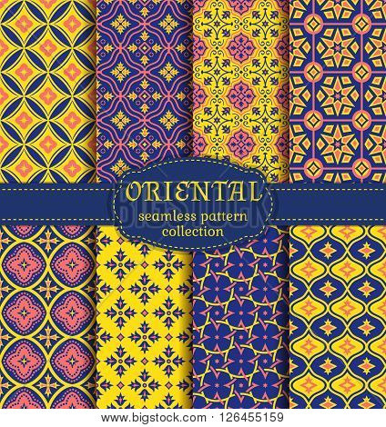 Eastern seamless patterns. Set in blue pink and yellow colors. Colorful collection of stylized oriental ornaments. Trendy abstract backgrounds. Vector illustration.