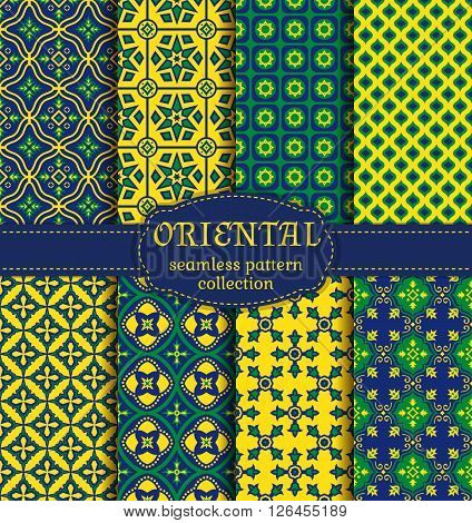 Eastern seamless patterns. Set in green blue and yellow colors. Colorful collection of stylized oriental ornaments. Trendy abstract backgrounds. Vector illustration.