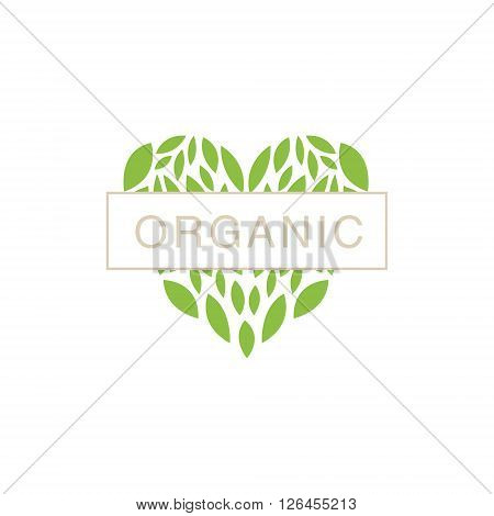 Heart With Text In Middle Organic Product Logo Cool Flat Vector Design Template On White Backgeound