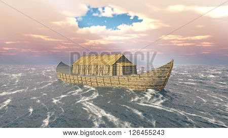 Computer generated 3D illustration with Noah's Ark in the stormy ocean