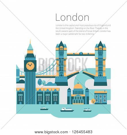 London City architecture vector illustration. Travel and tourism background.