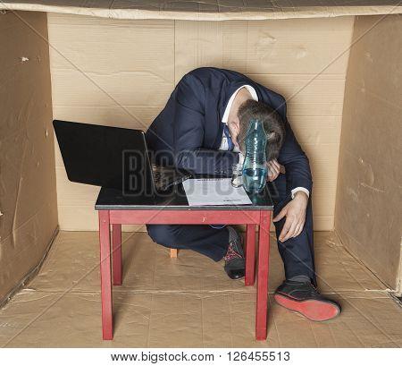 Drunk Businessman Asleep At Work