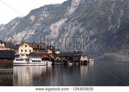 View of Hallstatt old town village Houses and boat dock Austria